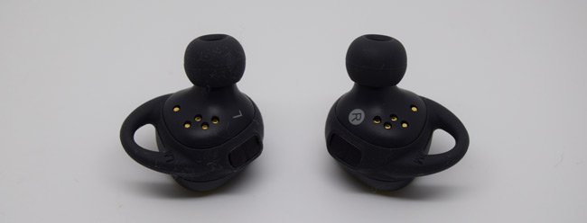 A closeup to the Samsung Gear IconX earbuds. They sometimes act as dust magnets.