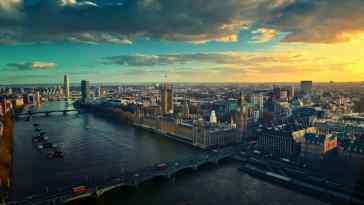 Widok Londynu z lotu ptaka