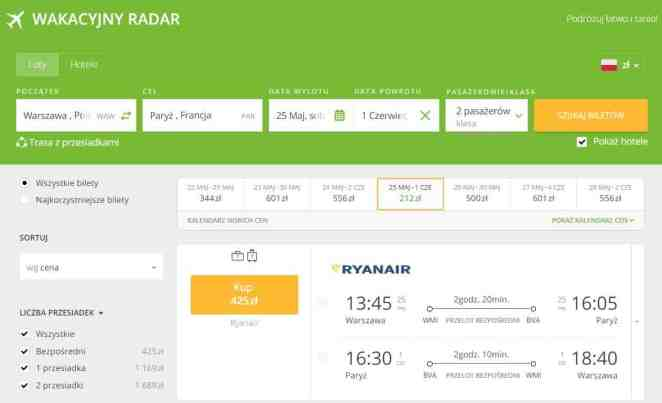 Paryż w maju 2019 - tani lot Ryanair