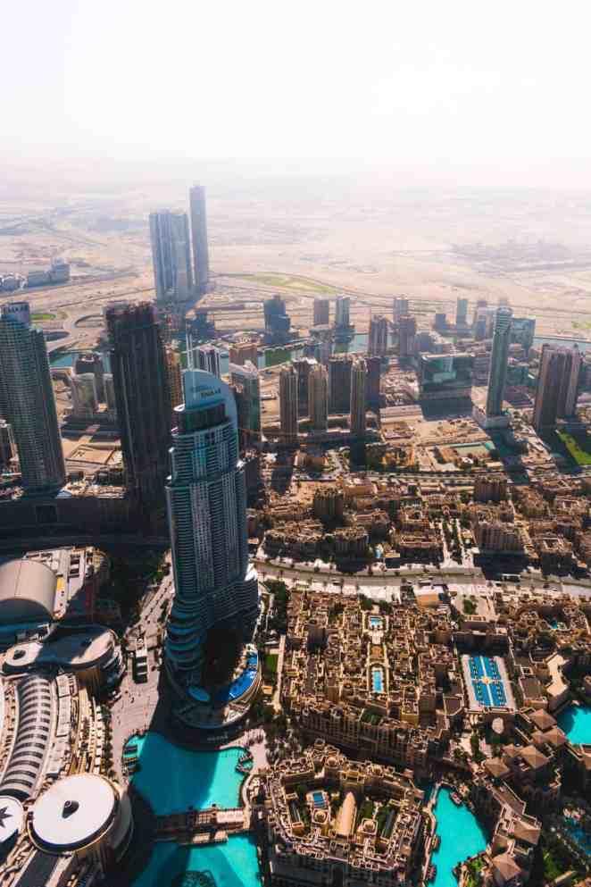 Widok Dubaju z lotu ptaka