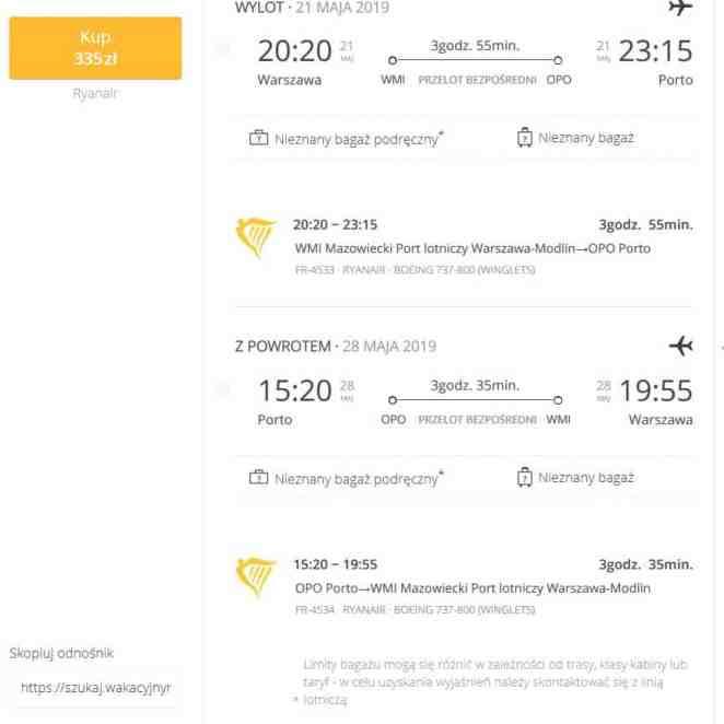 Szczegóły taniego lotu do Porto w maju 2019
