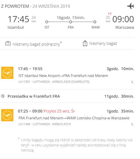 Powrotny lot z Warszawy do Stambułu