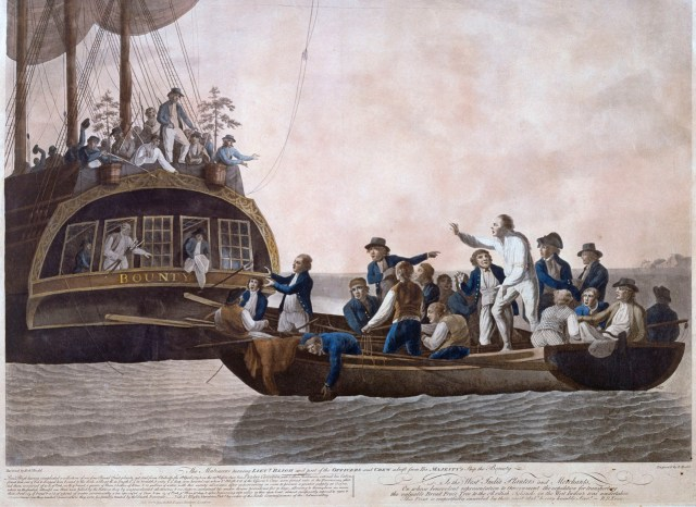 Mutiny on the Bounty 1789 - Captain Bligh and his 18 crew set adrift in the ship's launch by the mutinous crew header by Fletcher Christian!