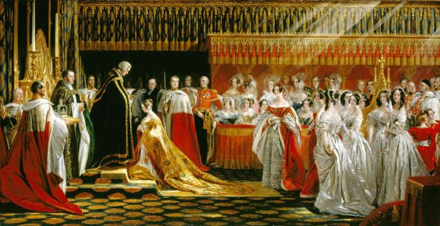 Sir George Hayter was offered the commission less than a week before the event, on 22 June 1838, for a fee of 2,000 guineas. He witnessed the ceremony in Westminster Abbey from the Lord Great Chamberlain's box, which was above the box occupied by the royal ladies.