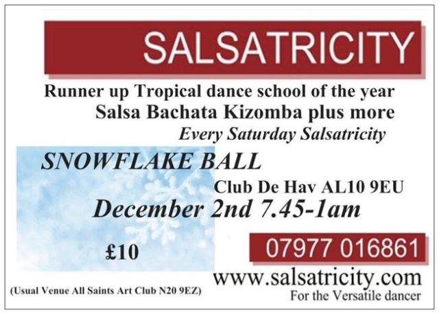 Salsatricity at Club De Havilland in Hatfield AL10 9EU - use Exit 21a of M25