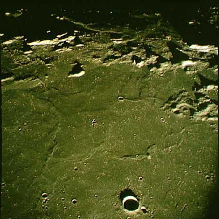 Sinus Medii including Surveyor 4 and 6 landing sites - Crater Bruce in foreground