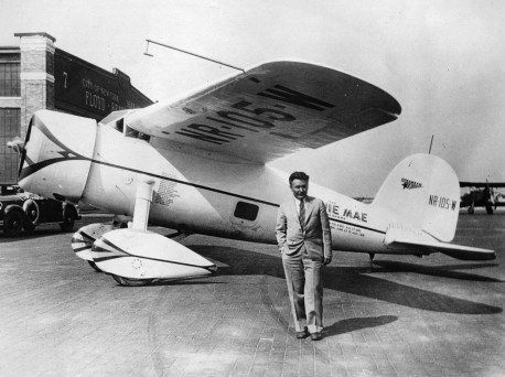 Winnie Mae, a Lockheed Vega 5C, with Wiley Post before the flight around the world!