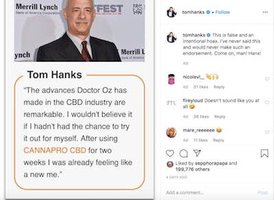 Tom Hanks Is Pissed Off. His Image Is Being Used To Tout A CBD Product
