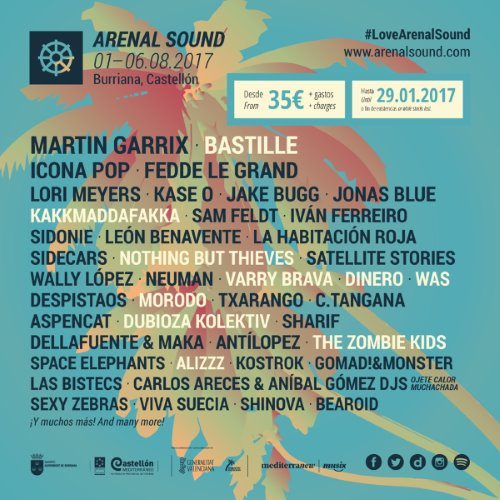 Resultat d'imatges de cartel arenal sound 2017