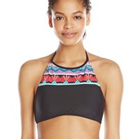 Hobie Women's Deco Stripe High Neck Crop Bikini Top, Multi, Medium