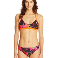 TYR Women's Wanderlust Crosscut Fit Tie Back Workout Bikini, Pink, Medium