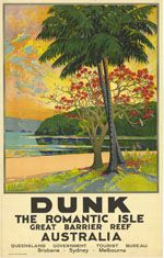 Dunk Island postcard, Adrian Mitchell's The Beachcomber's Wife