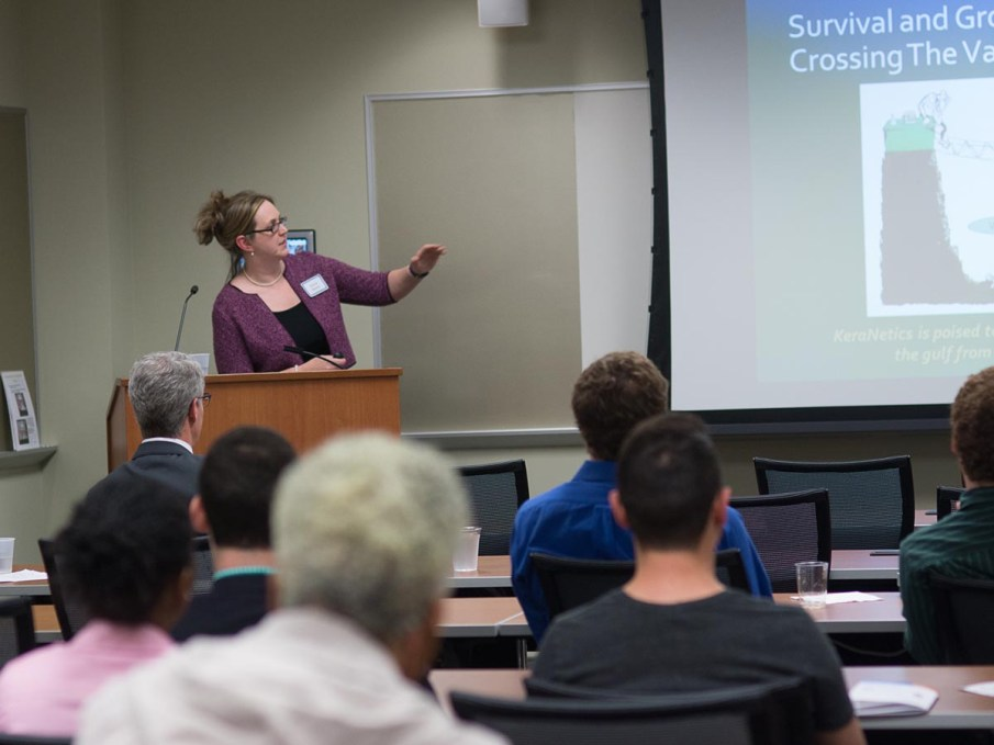 Jessica Beaver, PhD, RAC, presents on KeraNetics during the 2016 Wake Forest Innovations Open Thinking showcase.