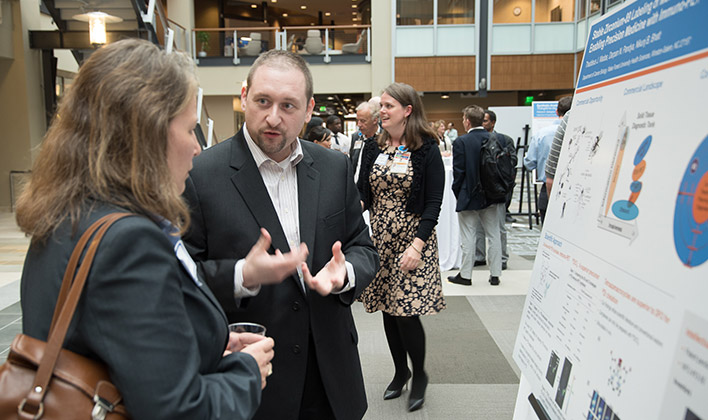 Thaddeus Wadas, PhD, presents his research at the second annual Open Thinking showcase hosted by Wake Forest Innovations.