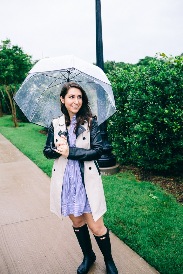 Rainy Day: classic trench, striped shirtdress and hunter boots - Waketon Road Blog