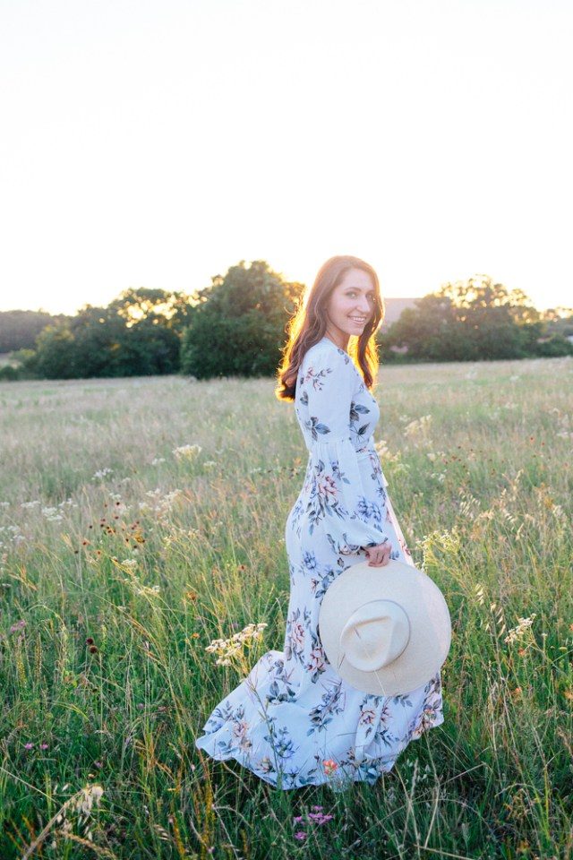Golden Hour - Waketon Road Blog: Christy Dawn floral maxi dress, lace up sandals and summer hat
