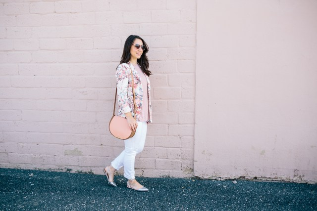 Pink Blazer - Waketon Road: Zara blazer, white jeans, sparkle shoes and Cuyana saddle bag