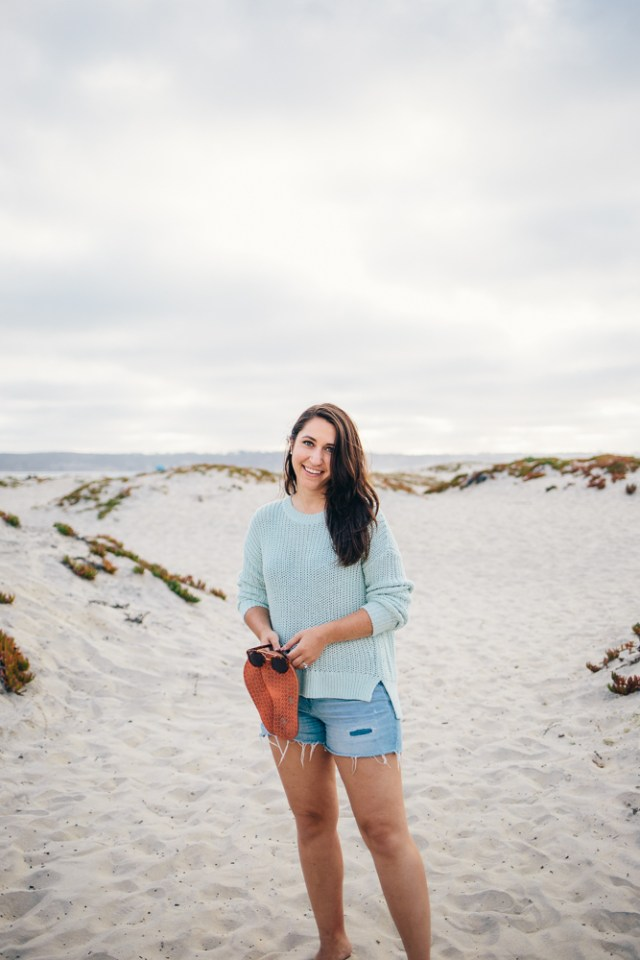 Coronado Sunset - Beach Look: Lou & Grey sweater and cut off shorts