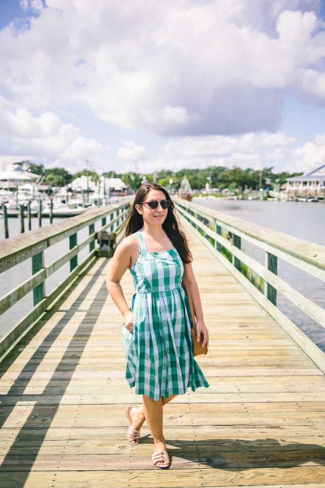 The Marsh Walk in South Carolina - Waketon Road Blog wearing J.Crew gingham sundress