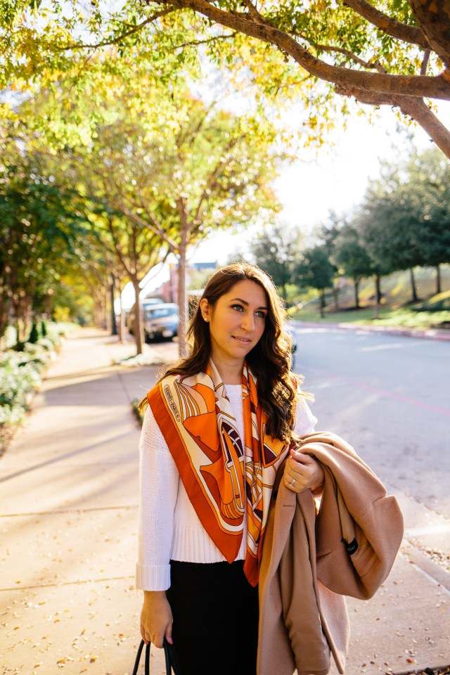 Designer Shopping Tricks on Waketon Road Blog wearing Vintage Hermes Scarf