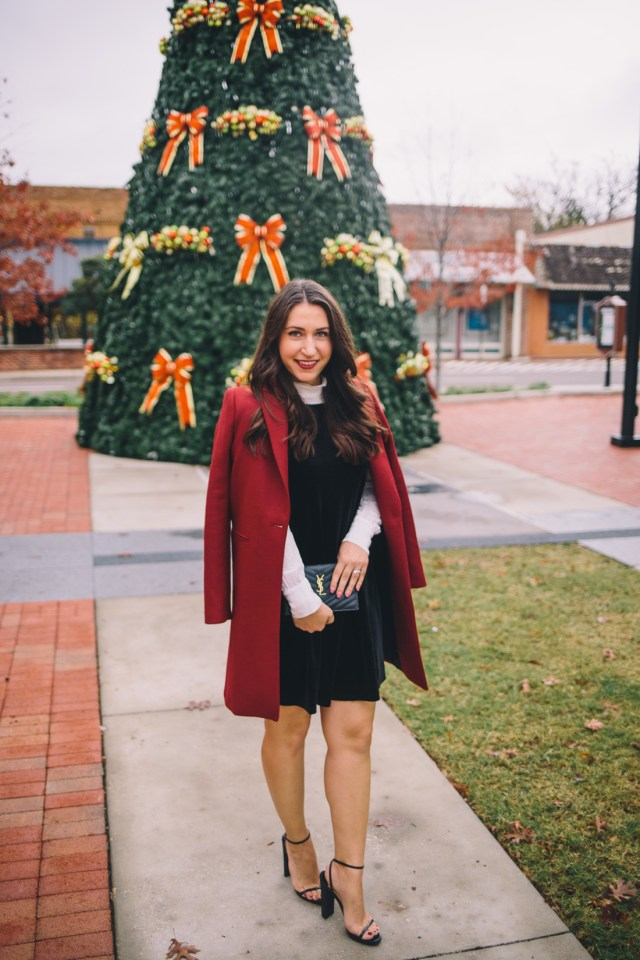 Holiday Traditions on Waketon Road wearing a velvet LBD