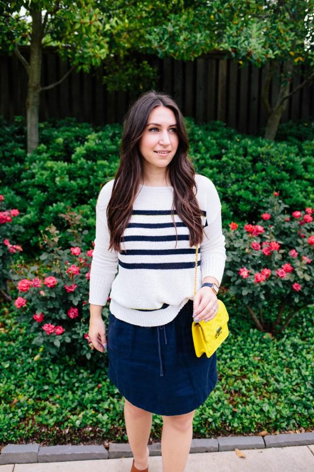 Nautical Stripe Sweater on Waketon Road Blog wearing Loft