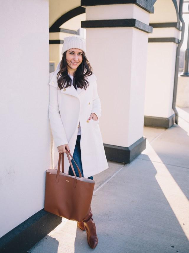 Winter White on Waketon Road wearing Ann Taylor + Cuyana