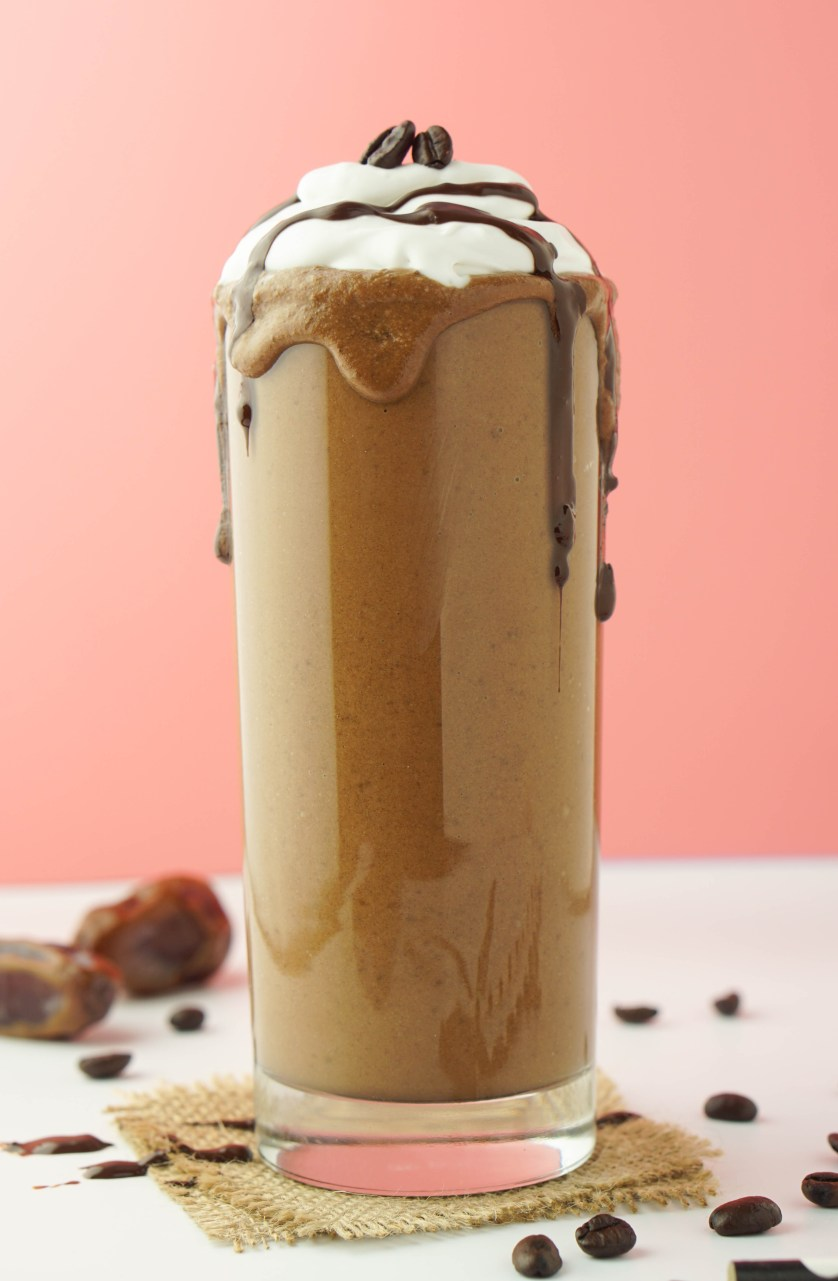 Healthy Mocha Milkshake! VEGAN, sugar-free and guilt-free! #chocolate #coffee #coconutmilk | www.wakeuptowaffles.com