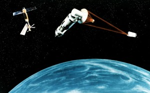 1984 artists depiction of a laser-armed satellite firing on another in President Reagan's proposed Strategic Defence Initiative (Star Wars) program.