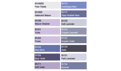 COPIC BV Blue Violet - color chart
