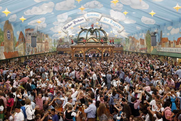 Overall view shows visitors crowding the Hacker beer tent on the opening day of the 177th & Munich Oktoberfest Events - Walburg German Restaurant