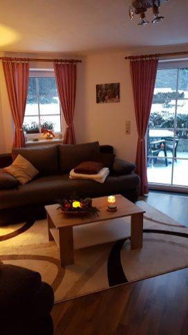 Wohnzimmer im Winter Ferienwohnung Wald Kobel