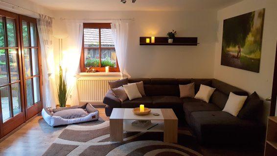 Wohnzimmer Ferienhaus Sacherl Wald Kobel
