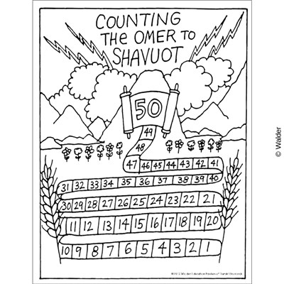 Count Up Sefirah until Shavuot Chart with lightning