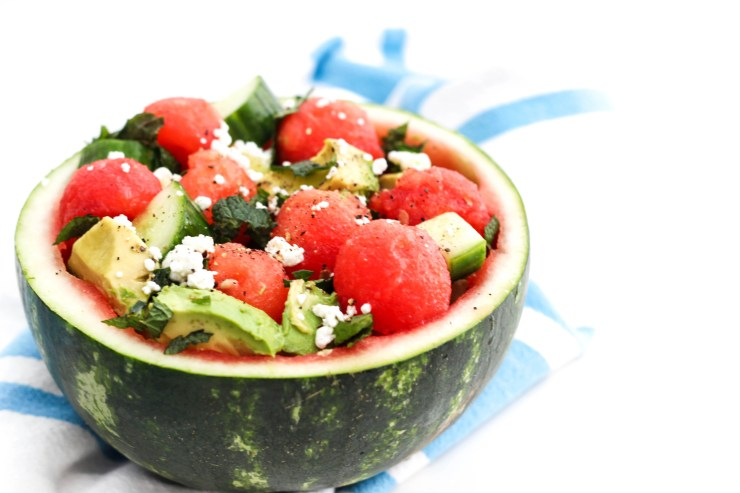 Summer salad in a watermelon bowl