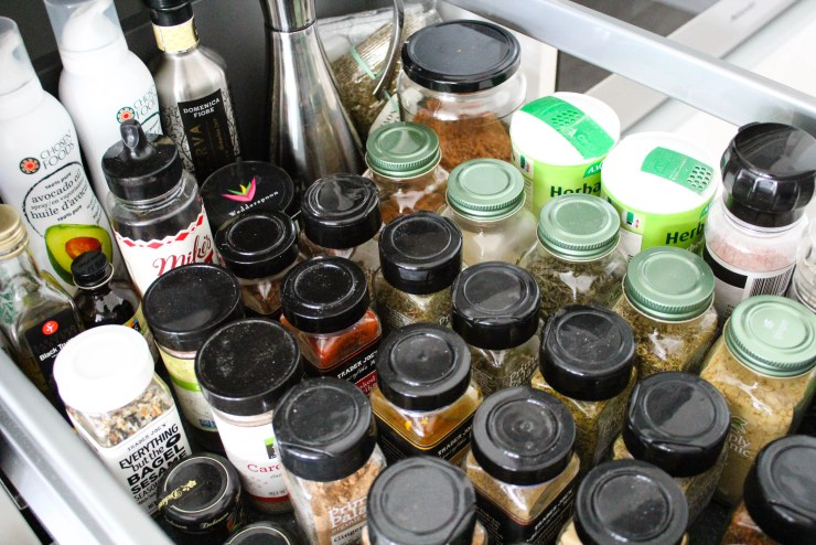 A dietitian's healthy pantry, inside the spice cabinet