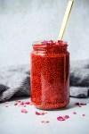 strawberry rose chia jam in a glass jar