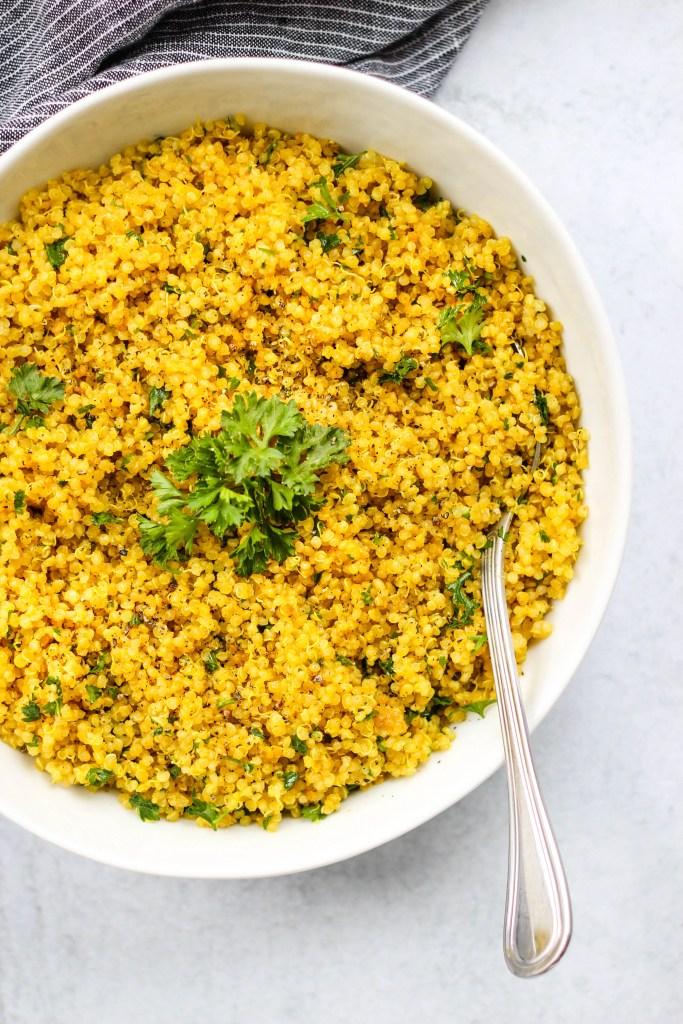 turmeric cumin and parsley quinoa