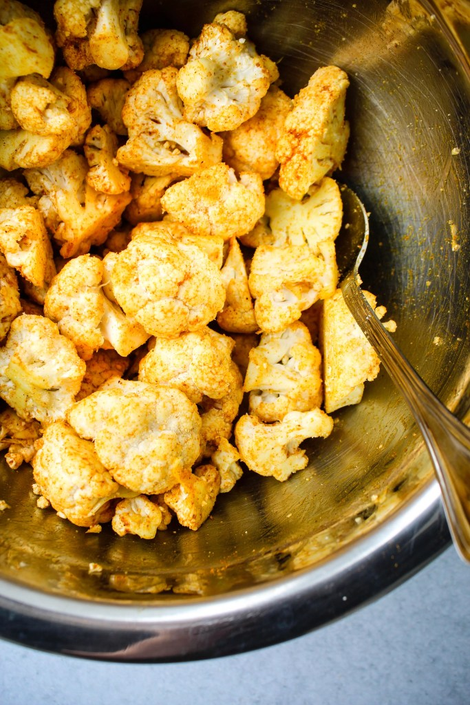 cauliflower florets tossed in curry spice