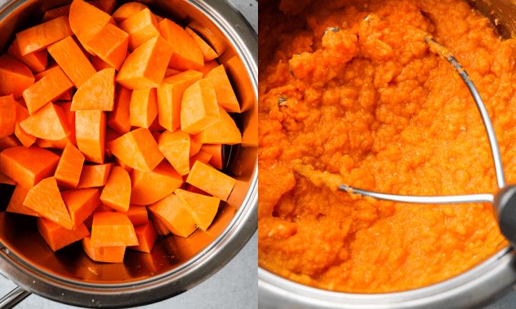 mashed sweet potatoes cooking process