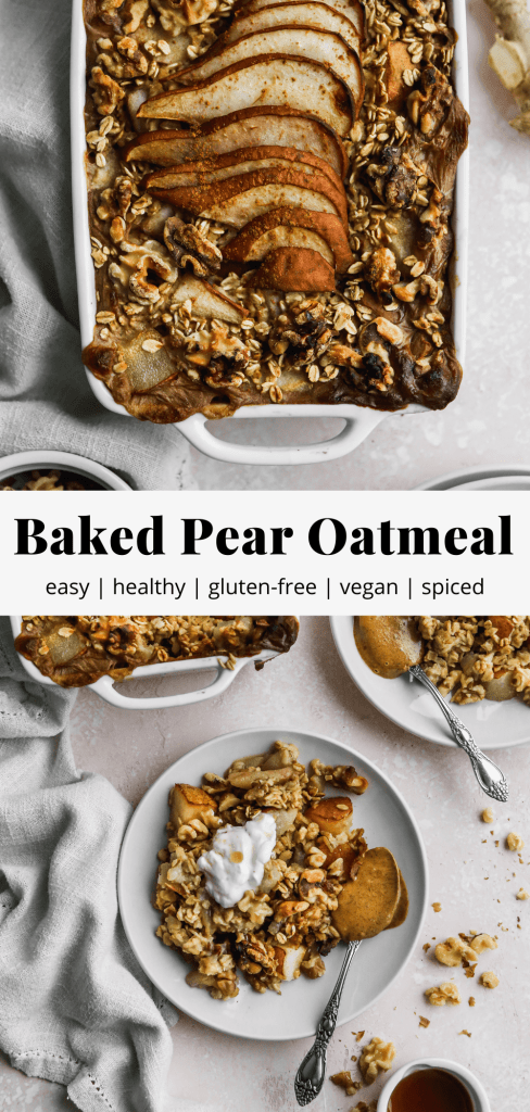 pinterest graphic for healthy baked pear oatmeal recipe