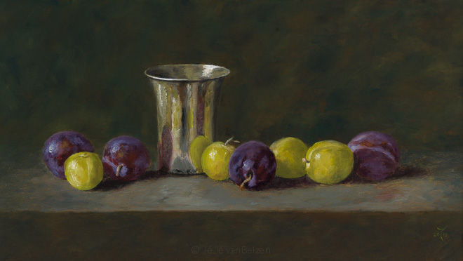 Silver beaker and Reine Claude plums