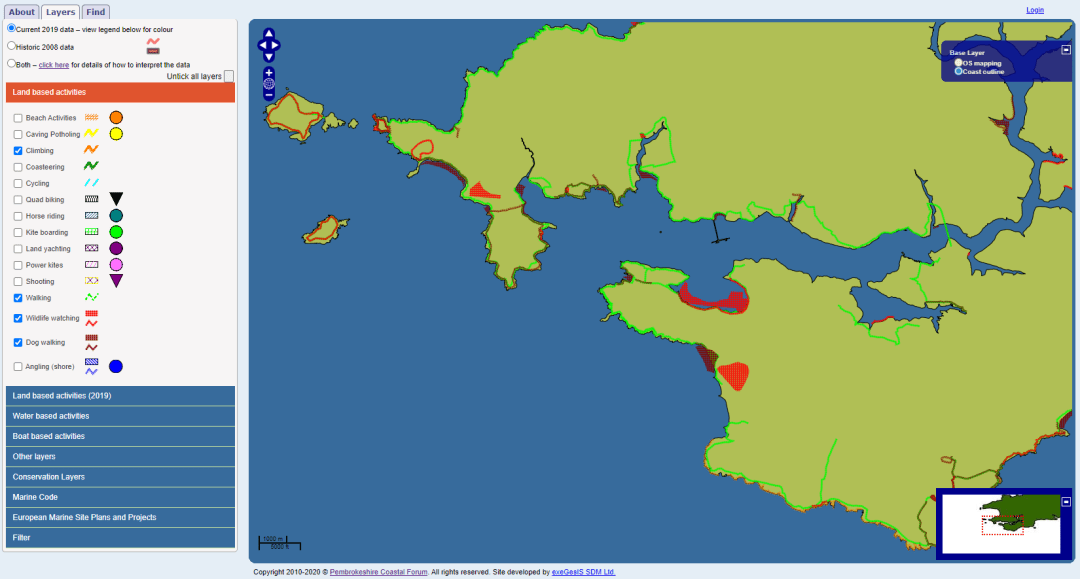 Wales Activity Mapping - Coast Outline View