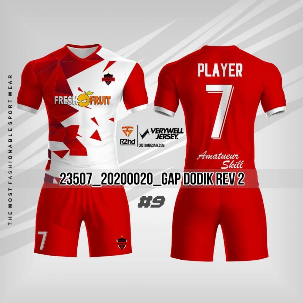 desain kaos futsal merah