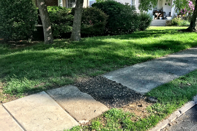 The sidewalk patch in front of the home of Jay Conners was done by the Borough.