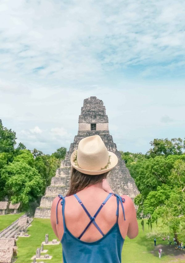 enjoying the view of the main plaza in tikal