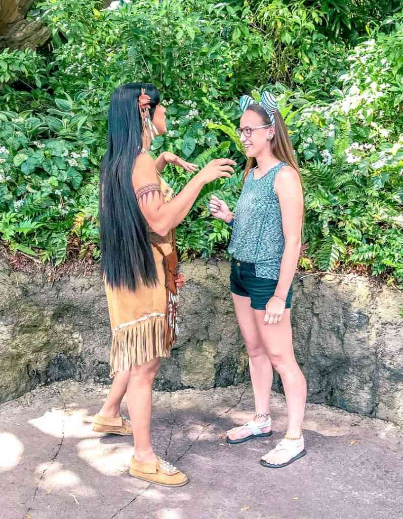 meeting Pocahontas at Animal Kingdom