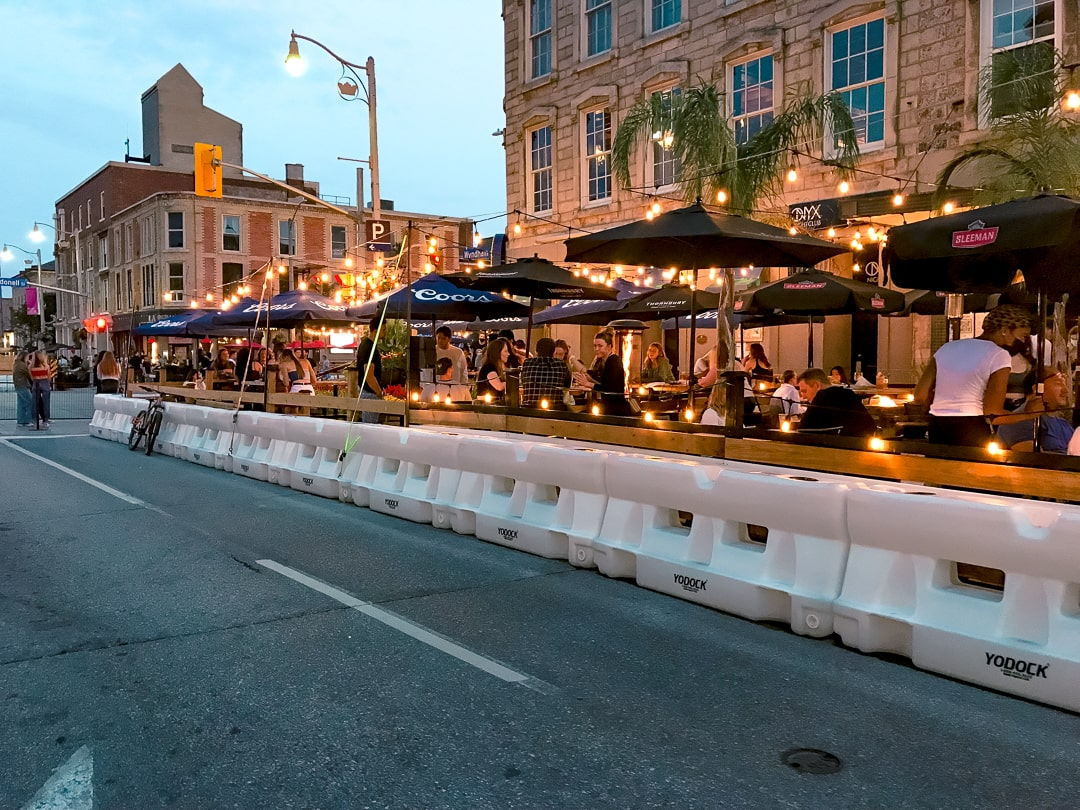 Restaurant patios in downtown Guelph at night