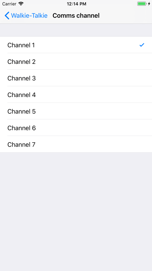 Walkie Talkie settings page showing the various different channels which can be selected