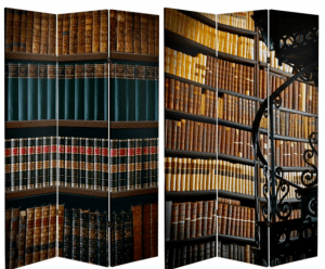 A three-panel room divider covered in canvas printed to look like shelves of library books. The photo shows both sides of the divider. There is a bit of fancy wrought iron showing in the right panel of the front side, which is part of a spiral staircase.